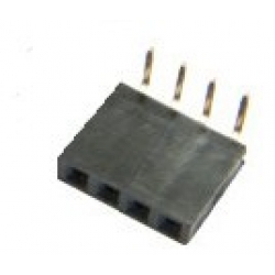 4 Way Single Row Right Angled PCB Socket 0.1""