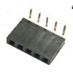 5 Way Single Row Right Angled PCB Socket 0.1""