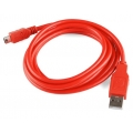 USB MiniB Cable A to MiniB - 6 Foot - Red
